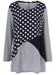Plus Size Polka Dot Trim T-Shirt