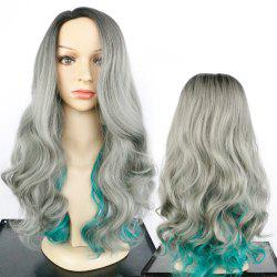 Long Side Parting Fluffy Colormix Wavy Synthetic Wig -