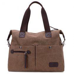 Multi Pocket Casual Large Tote Bag - BROWN