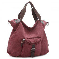Buckle Strap Canvas Handbags - PURPLISH RED