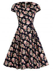 Square Collar Floral Print Vintage Swing Dress -