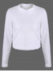 Fuzzy Cropped Pullover Sweater - WHITE XL