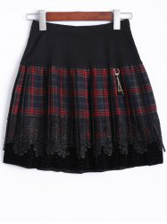Elastic Waist Plaid Lace Insert Skirt