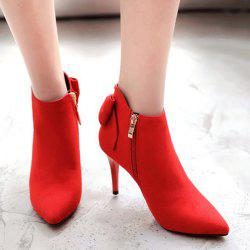 Pointed Toe Back Bowknot Ankle Boots -