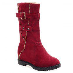 Buckle Strap Zip Embellished Mid Calf Boots