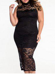 High Neck Lace Panel Plus Size Maxi Prom Carpet Dress