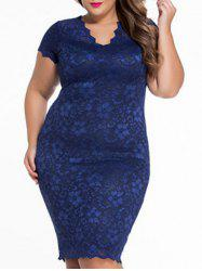 Plus Size V Neck Lace Bodycon Dress