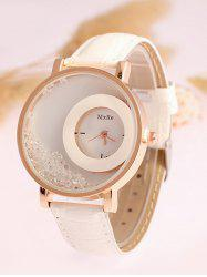 Artificial Leather Drift Sand Watch - WHITE