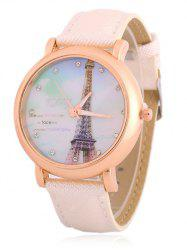 Rhinestone Eiffel Tower Quartz Watch - WHITE