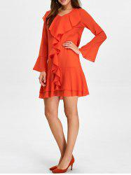 Chiffon Long Sleeve Ruffle Going Out Dress