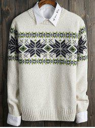 Color Block Snowflake Crew Neck Long Sleeve Sweater -