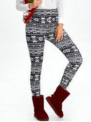 High Waist Flocking Snowflake Printed Leggings