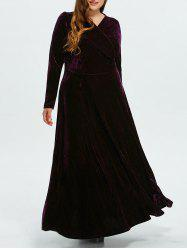 Velvet Plus Size Long Formal Dress with Sleeves