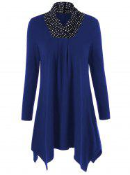 Plus Size Polka Dot Trim Longline T-Shirt