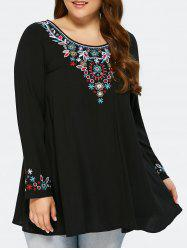 Plus Size Embroidery Design Peasant Blouse - BLACK