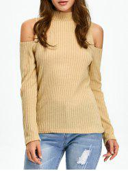 Mock Neck Open Shoulder Knitted Top