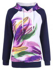 Colorful Feather Print Hoodie -