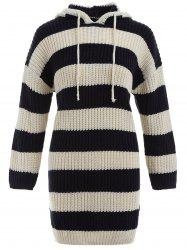 Striped Hooded Bodycon Sweater Dress