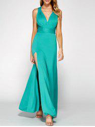 Crisscross Backless Side Split Maxi Prom Dress - GREEN XL