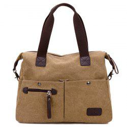 Multi Pocket Casual Large Tote Bag - KHAKI