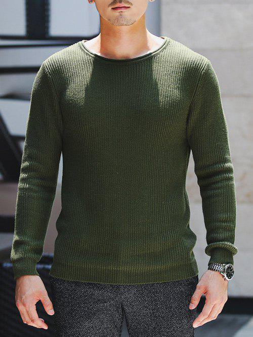 Latest Round Neck Ribbed Knitted Pullover Sweater