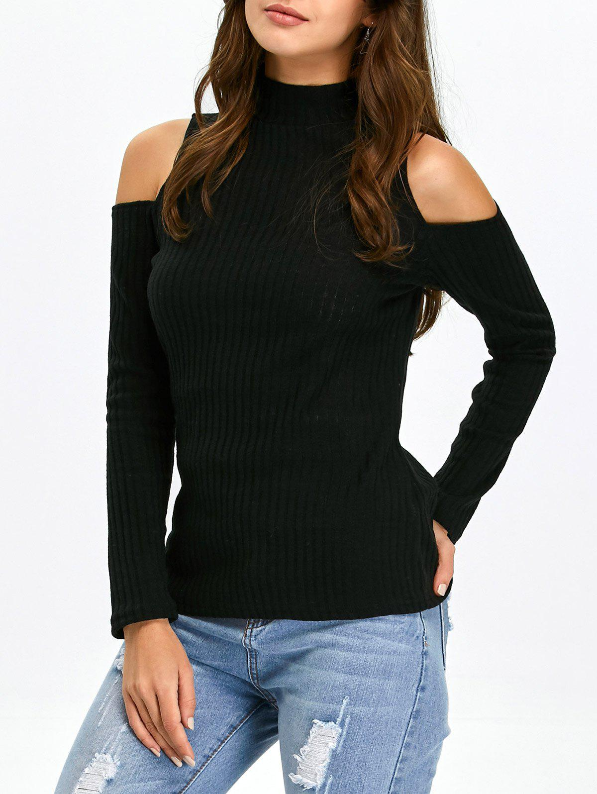 Black Xl Mock Neck Open Shoulder Knitted Top