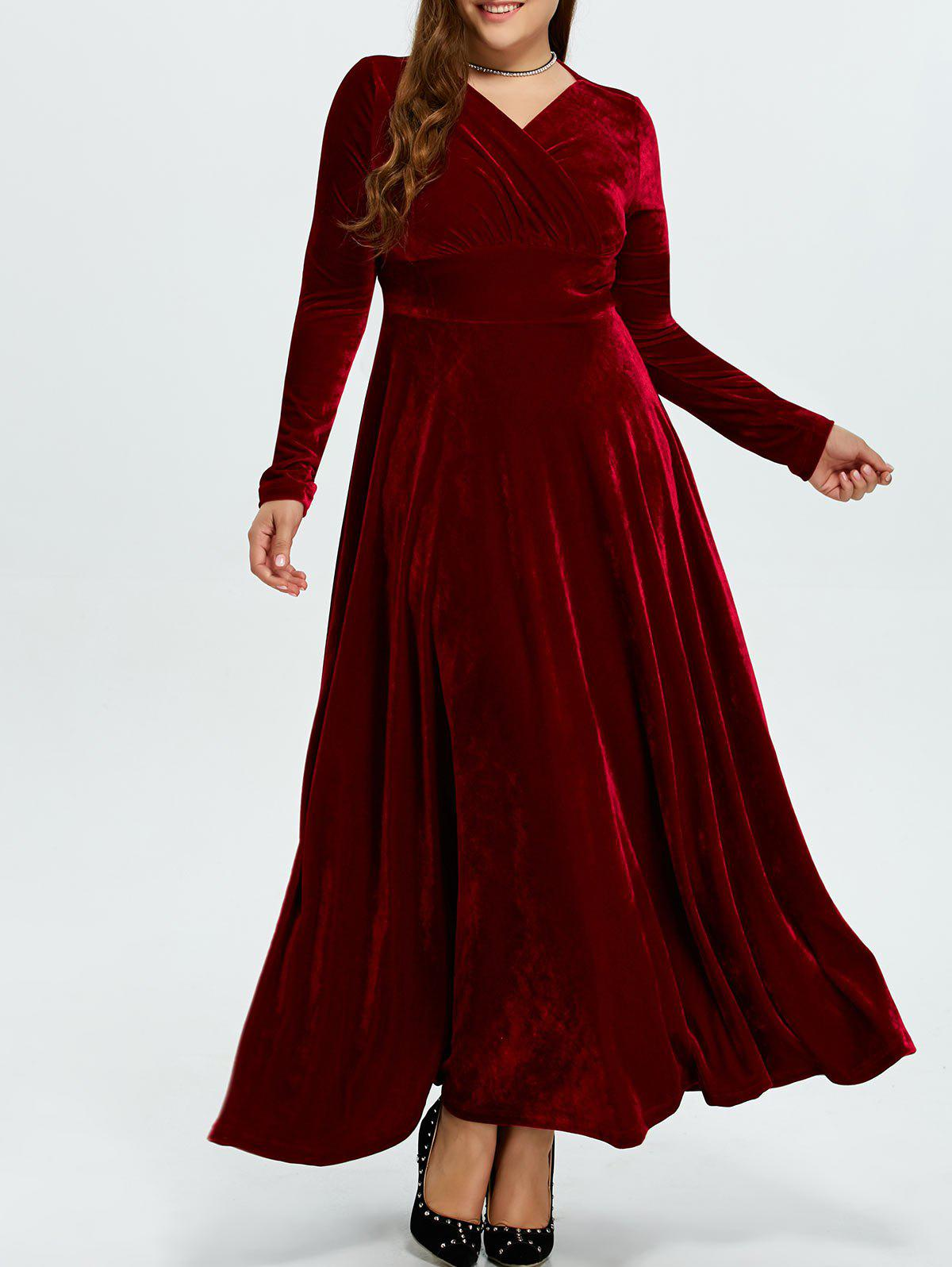 Wine Red 2xl Velvet Plus Size Long Formal Dress With