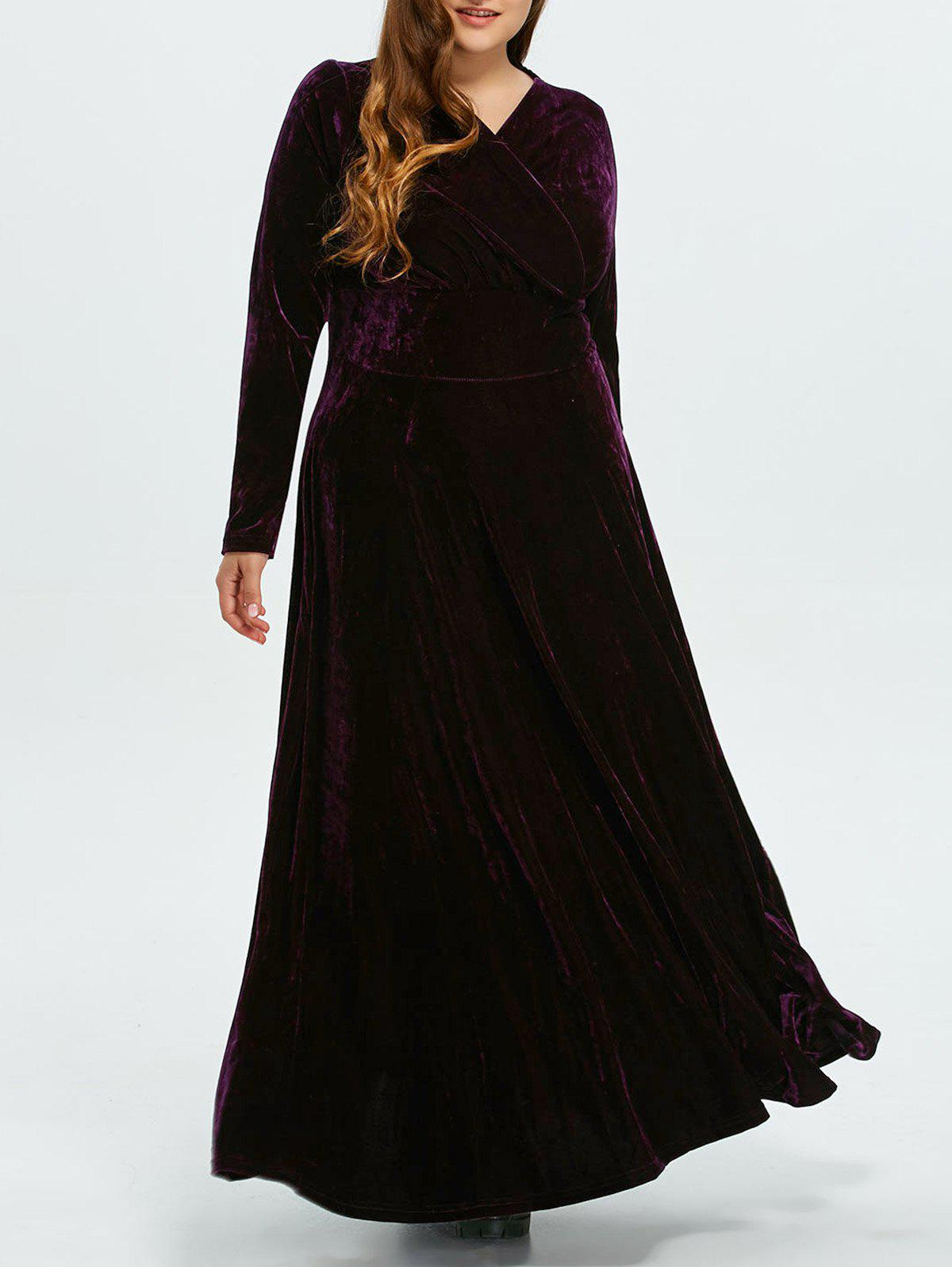 Deep Purple Plus Size Long Sleeve Velvet Maxi Dress