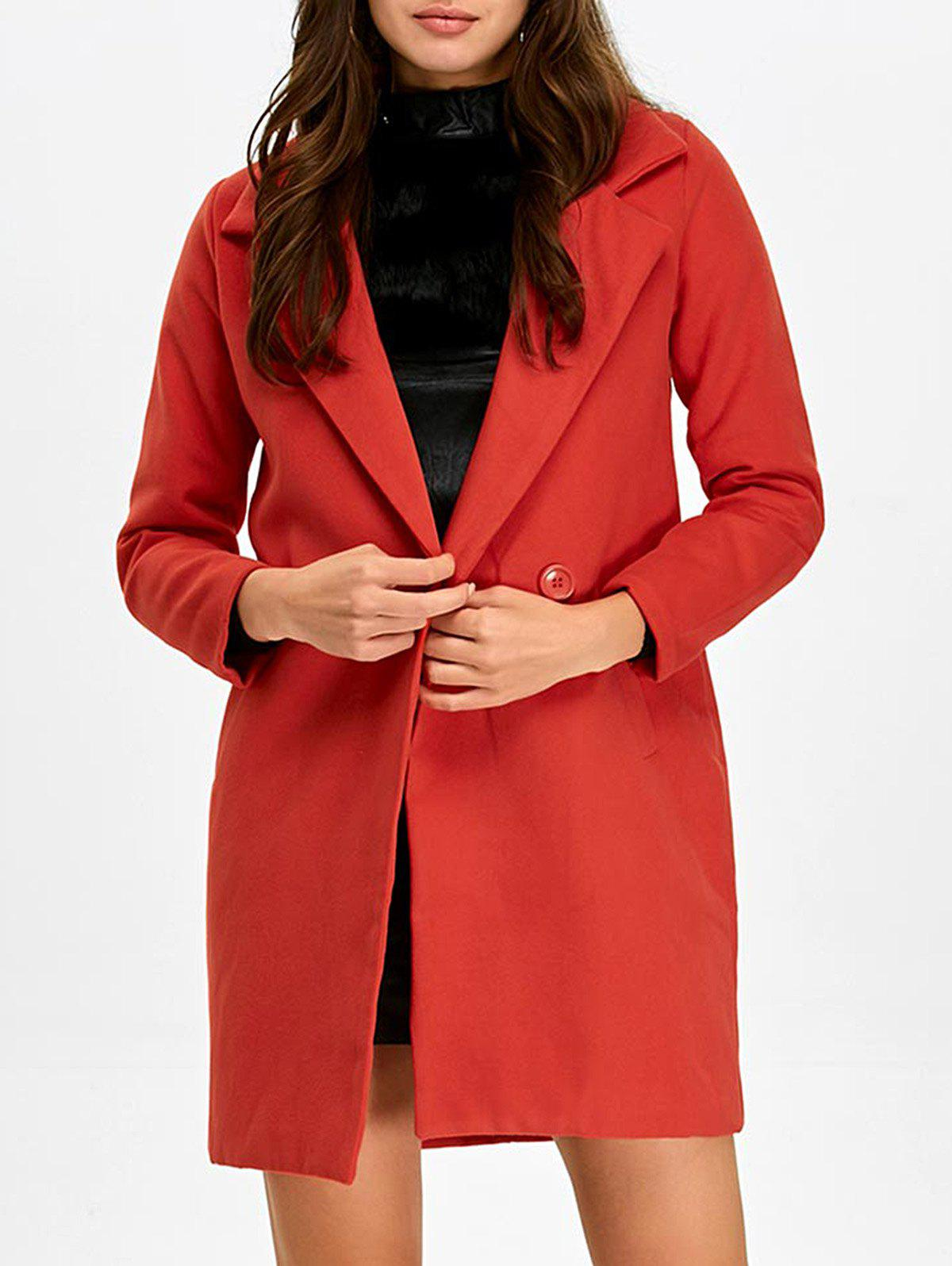 Discount Lapel Double Breasted Pocket Coat