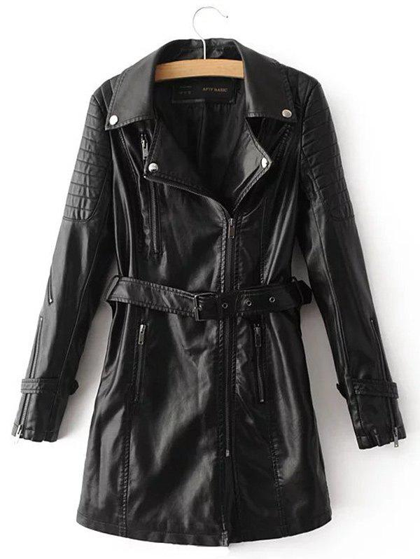 Online PU Leather Coat With Belt