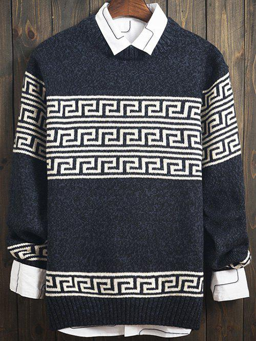 Outfit Curve Geometric Pattern Crew Neck Long Sleeve Sweater