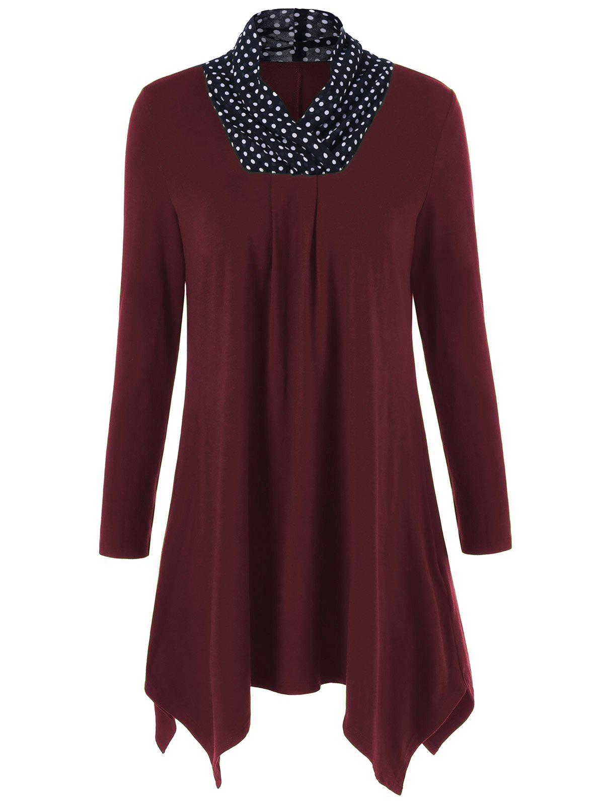 Plus Size Polka Dot Trim Longline T-ShirtWOMEN<br><br>Size: XL; Color: BURGUNDY; Material: Polyester,Spandex; Shirt Length: Long; Sleeve Length: Full; Collar: Stand-Up Collar; Style: Casual; Season: Fall,Spring; Pattern Type: Patchwork; Weight: 0.4200kg; Package Contents: 1 x T-Shirt;
