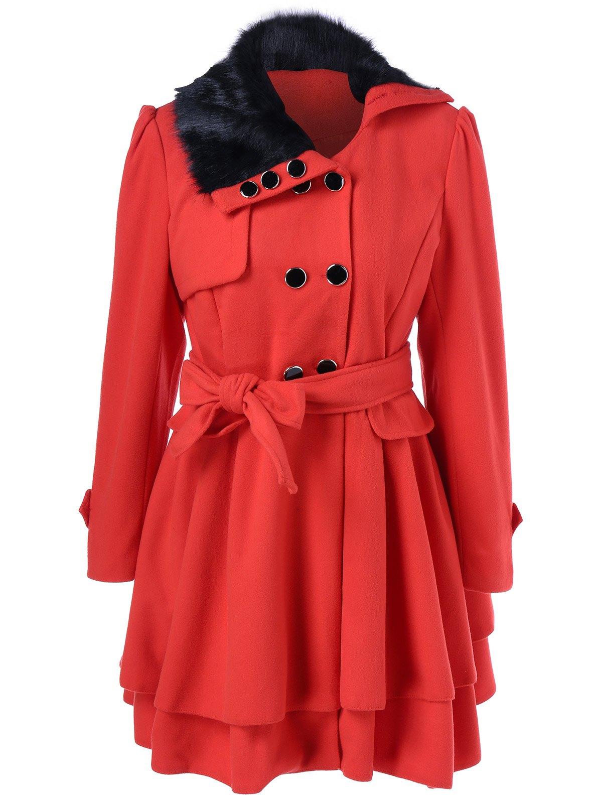 Fashion Layered Double Breasted Skirted Pea Coat With Belt