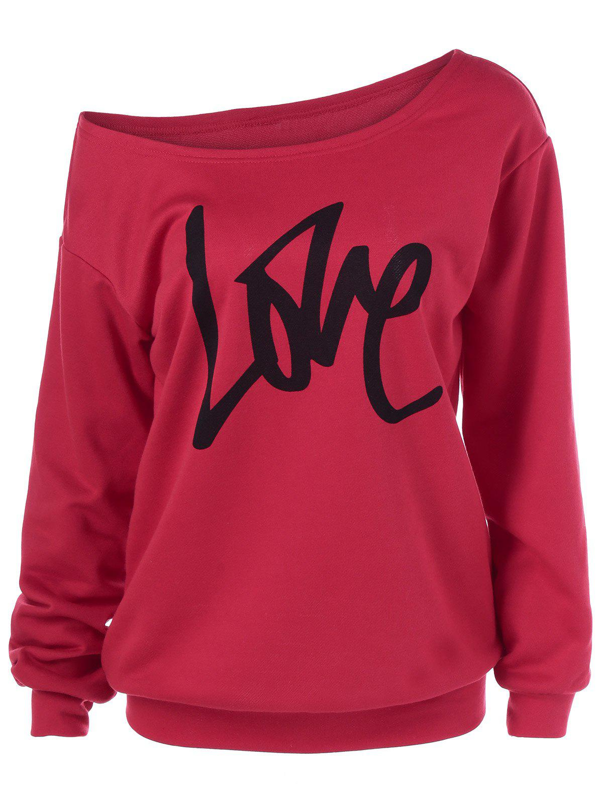 Skew Collar Love Plus Size SweatshirtWOMEN<br><br>Size: 2XL; Color: RED; Material: Polyester; Shirt Length: Regular; Sleeve Length: Full; Style: Casual; Pattern Style: Letter; Season: Fall,Spring; Weight: 0.3800kg; Package Contents: 1 x Sweatshirt;