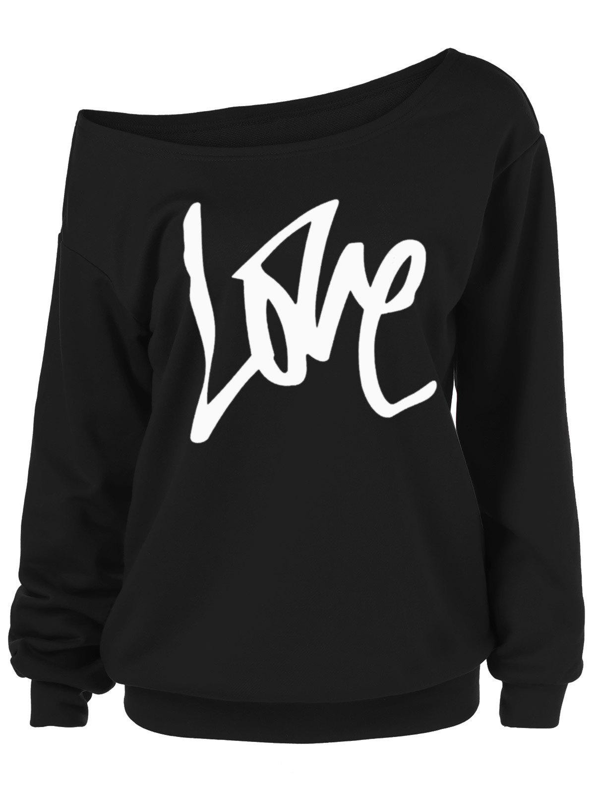 Fashion Skew Collar Love Plus Size Sweatshirt