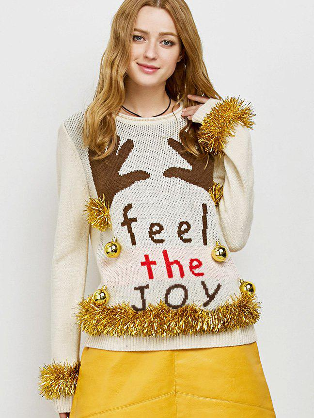 Embellished Christmas Knit Sweater with BellsWOMEN<br><br>Size: M; Color: BEIGE; Type: Pullovers; Material: Polyester; Sleeve Length: Full; Collar: Crew Neck; Style: Casual; Pattern Type: Letter; Season: Fall,Spring; Weight: 0.420kg; Package Contents: 1 x Sweater;