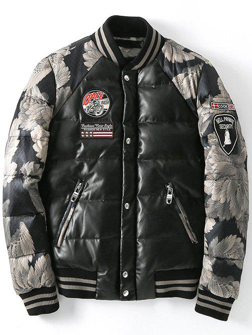 Store Zip Up Patch Design Printed Quilted Jacket