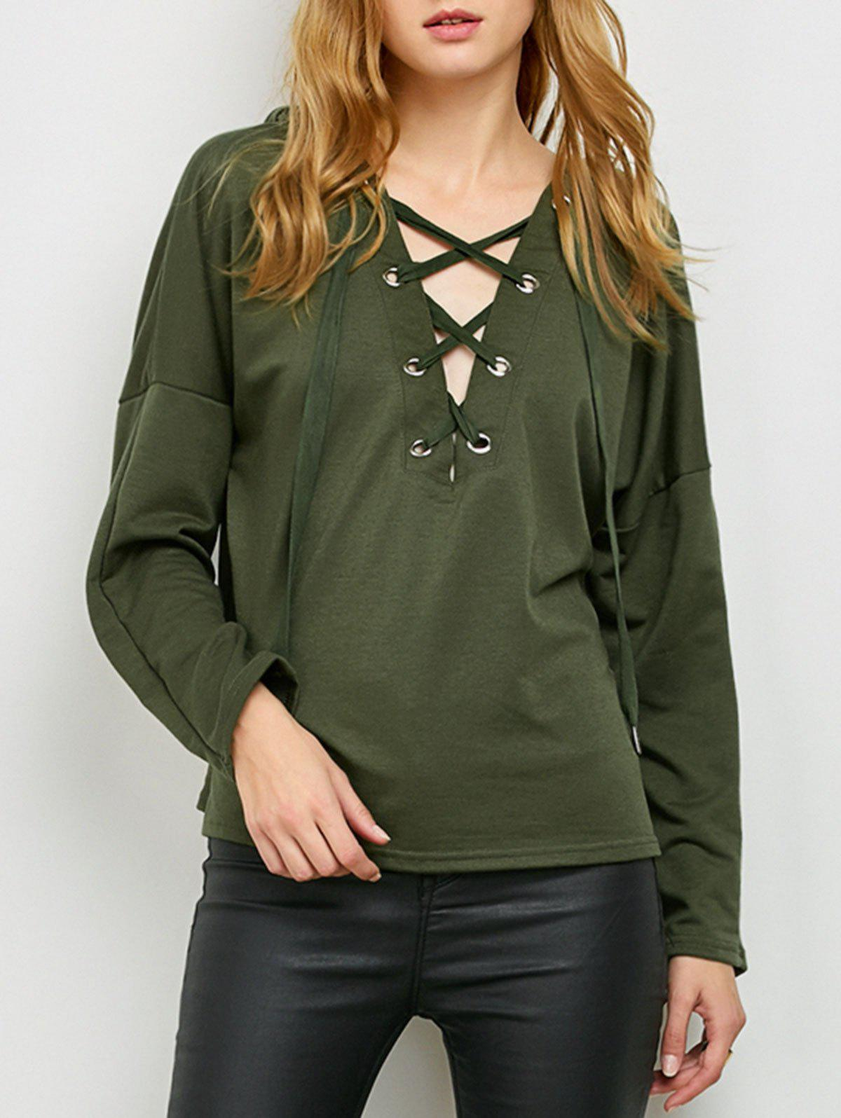 Trendy Slouchy Lace Up Hoodie