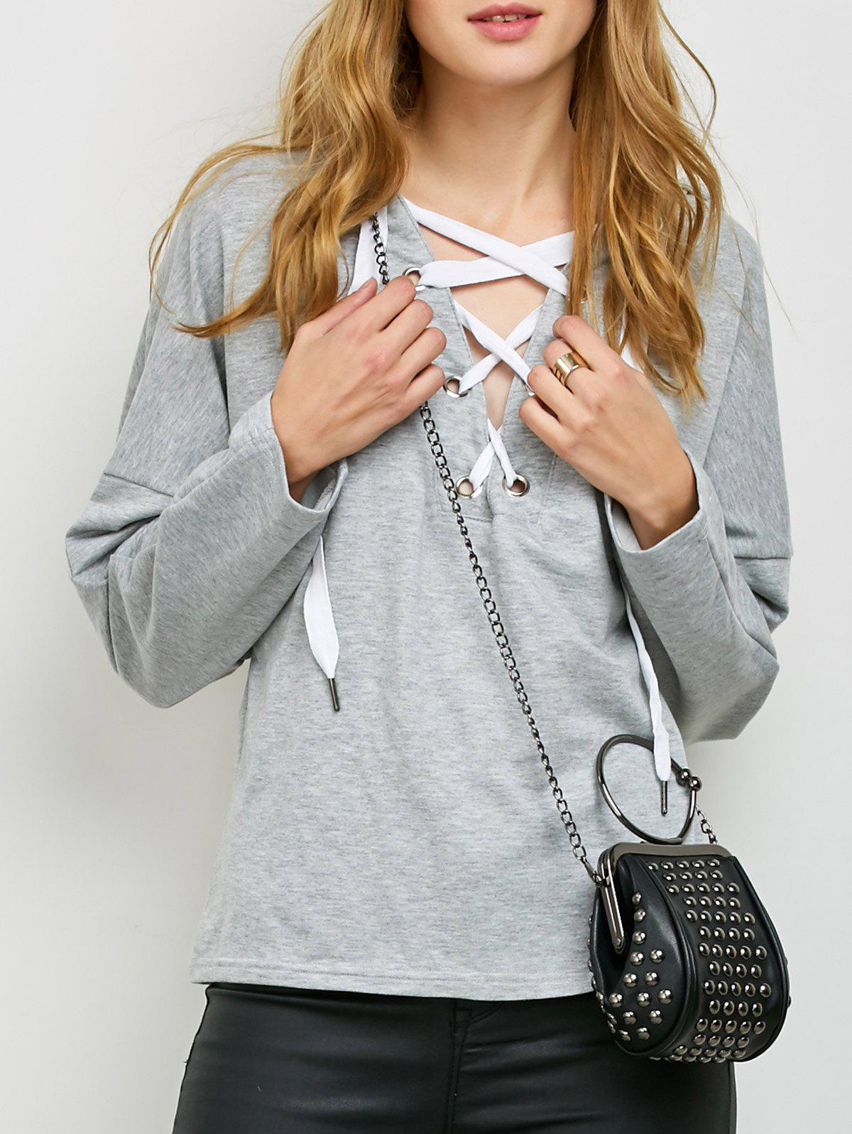 Outfit Slouchy Lace Up Hoodie