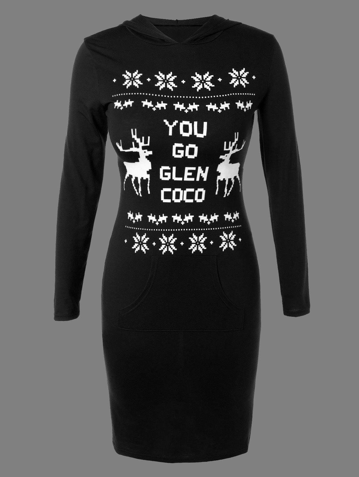 New Christmas Snowflake Deer Print Hoodie Dress