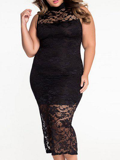 71857ca8bbf2 2018 Plus Size High Neck Long Tight Lace Midi Dress In Black 3xl ...