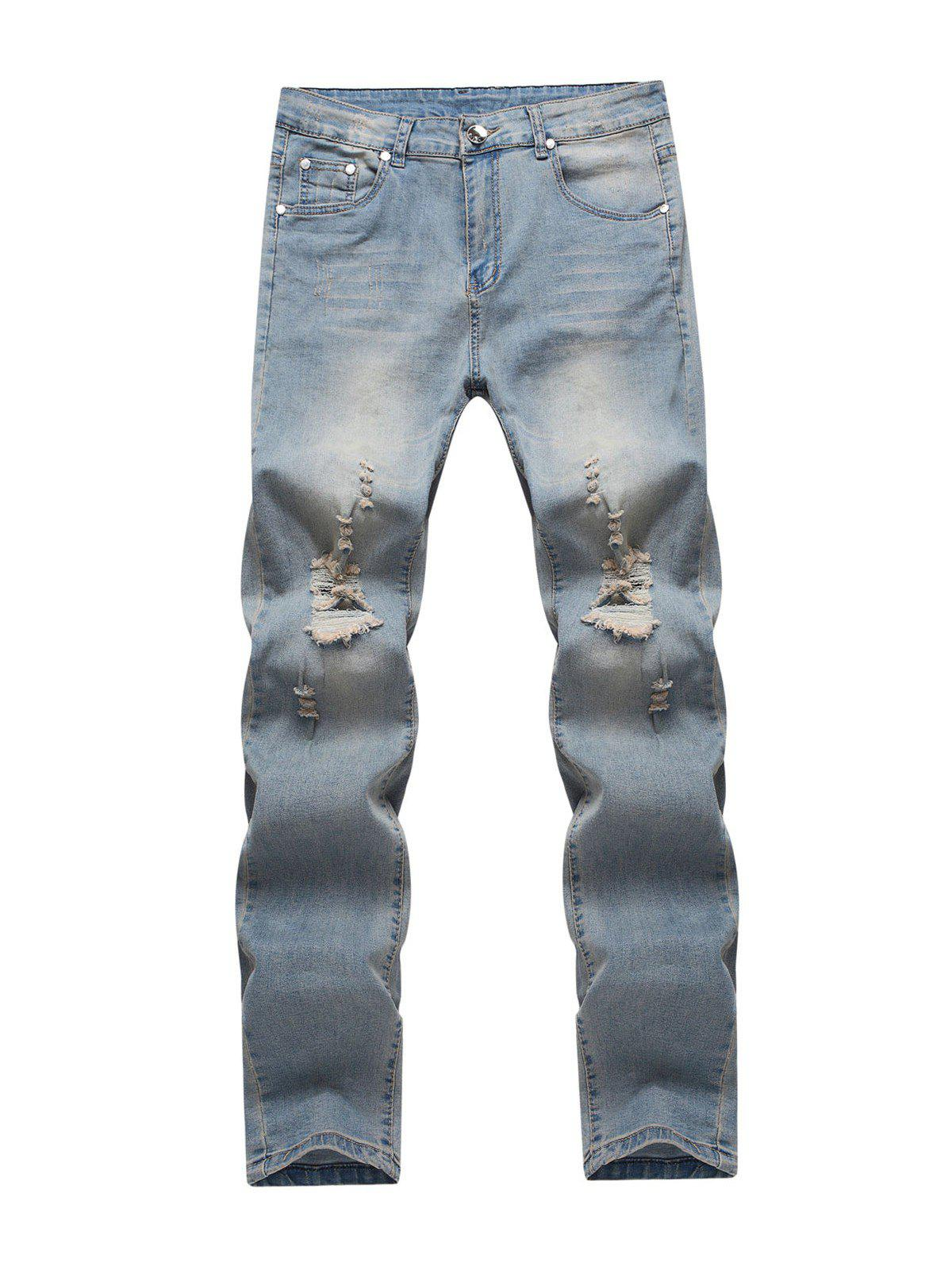 Affordable Knee Holes Frayed Zipper Fly Narrow Feet Ripped Jeans