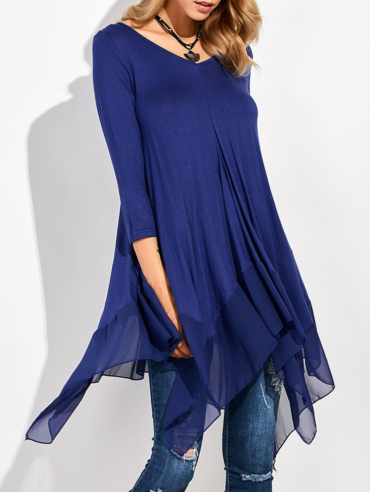Long Sleeve Asymmetrical Handkerchief Long T-ShirtWOMEN<br><br>Size: XL; Color: BLUE; Material: Cotton Blends,Polyester; Shirt Length: Long; Sleeve Length: Three Quarter; Collar: V-Neck; Style: Fashion; Season: Fall,Spring; Embellishment: Spliced; Pattern Type: Solid; Weight: 0.274kg; Package Contents: 1 x T-Shirt;