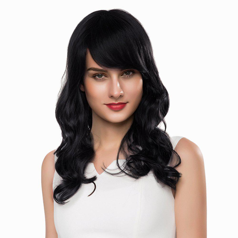 Discount Long Shaggy Side Bang Wavy Human Hair Wig