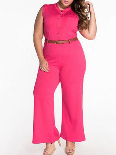 Sale Sleeveless Belted Plus Size Jumpsuit