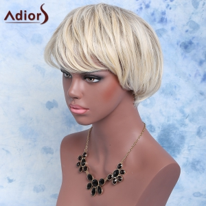 Adiors Color Mixed Synthetic Short Inclined Bang Straight Wig - COLORMIX