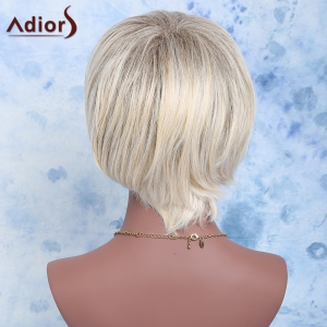 Adiors Color Mixed Synthetic Short Inclined Bang Straight Wig -