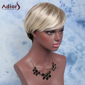 Adiors Inclined Bang Natural Straight Synthetic Short Mixed Color Wig -
