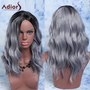 Adiors Mixed Color Synthetic Fluffy Medium Wave Centre Parting Wig - Colormix - 24inch