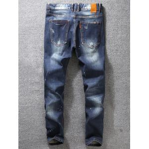 Tapered Fit Paint Splatter Scratched Patch Jeans -